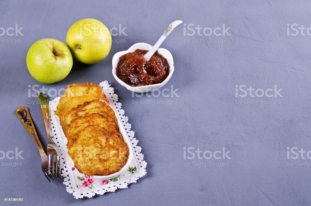 Traditional potato pancakes stock photo