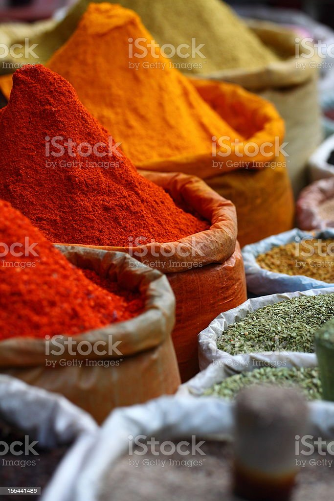 Traditional potted spices found on a market stock photo