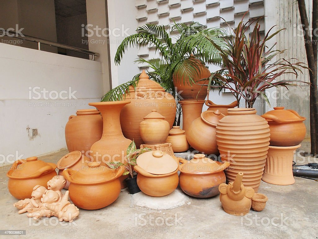 Traditional Pottery Gardening stock photo