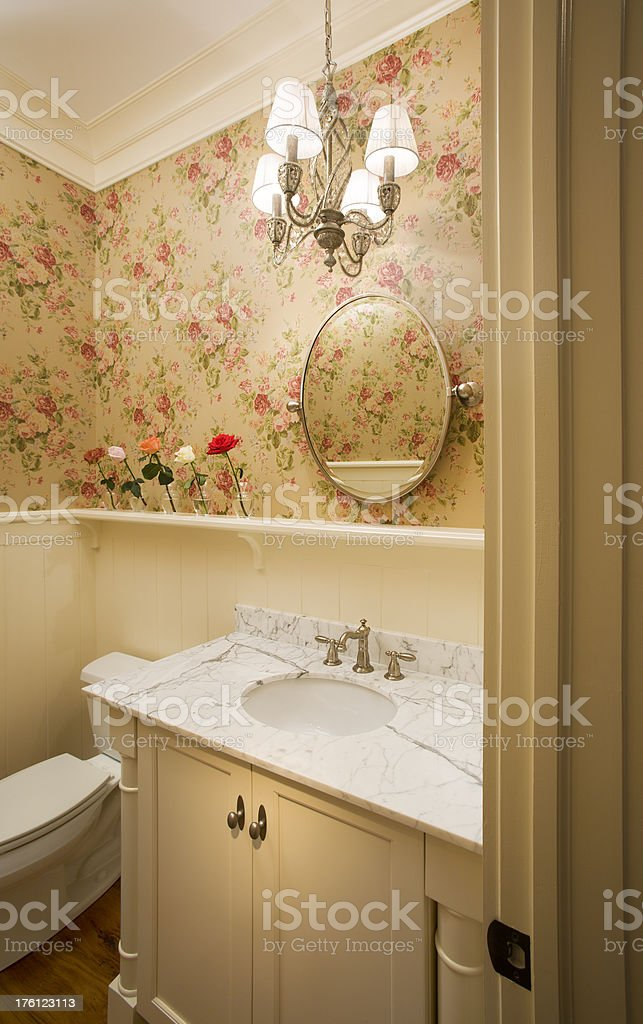 Traditional powder room with white marble. stock photo