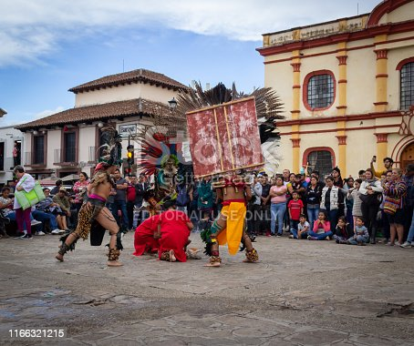 San Cristobal de las Casas, Chiapas / Mexico - 21/07/2019: ( Detail of traditional prehispanic dance in the streets of San Cristobal de las Casas Mexico )