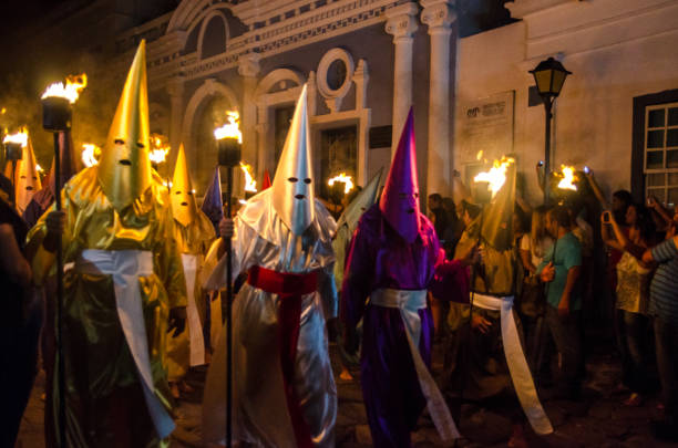 Traditional Procession in the City of Goiás Velho stock photo