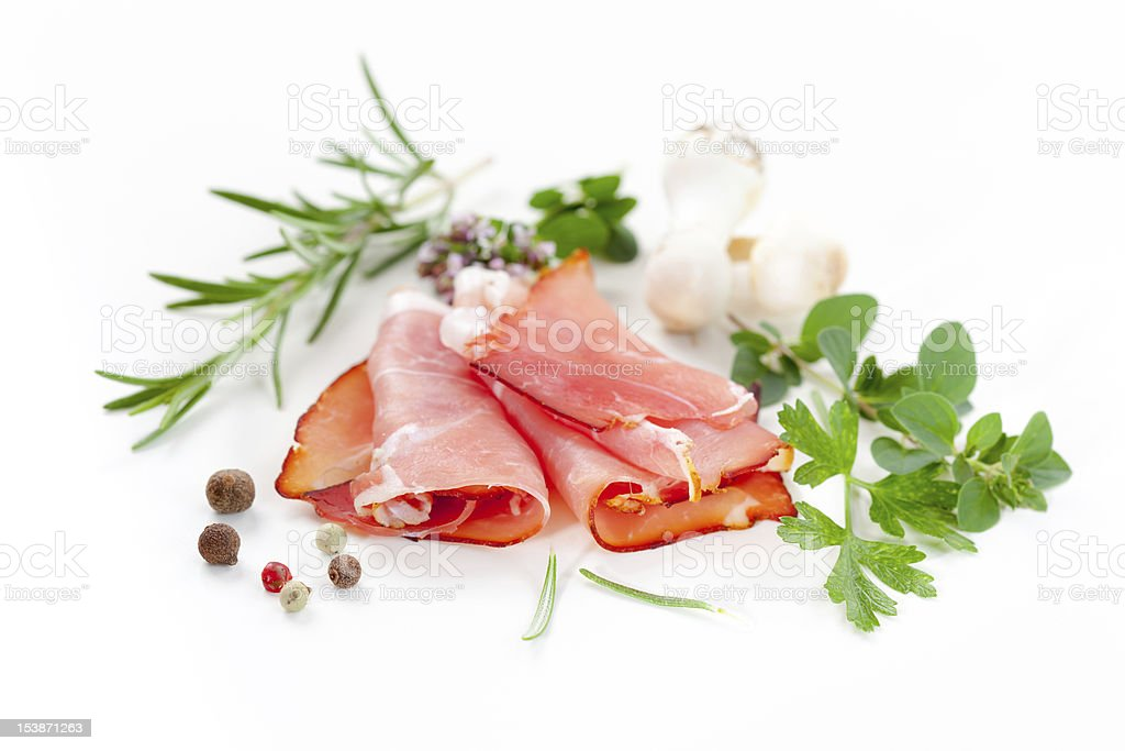 Traditional prosciutto stock photo