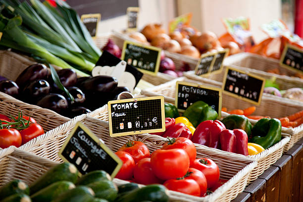 Traditional provencal market stall stock photo