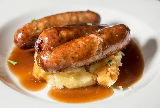 traditional pub lunch - bangers with mash - mash food state stock photos and pictures