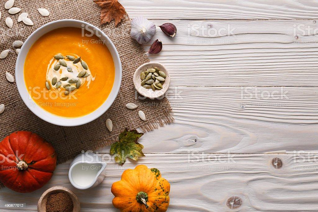 Traditional pumpkin soup stock photo