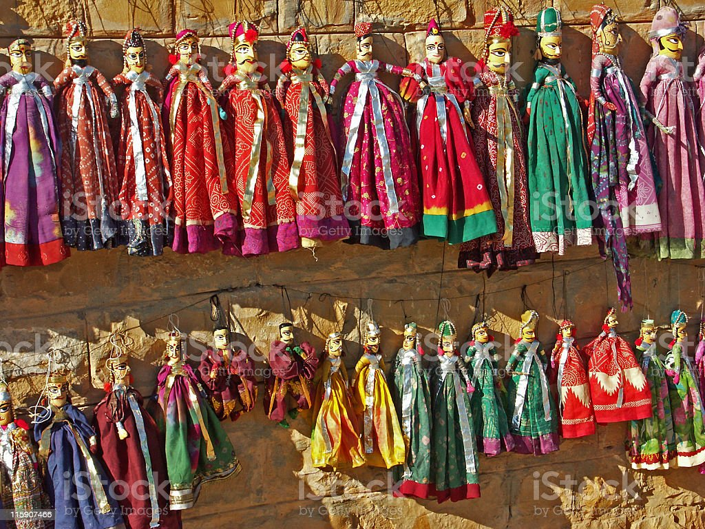 Traditional puppets for sale in Jaisalmer,Rajasthan,India royalty-free stock photo
