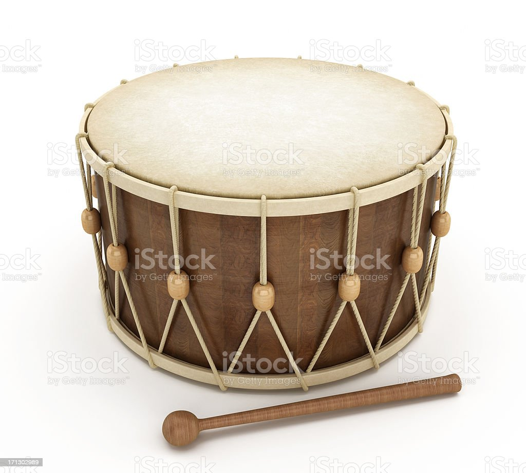 Traditional Ramadan drum on white background stock photo