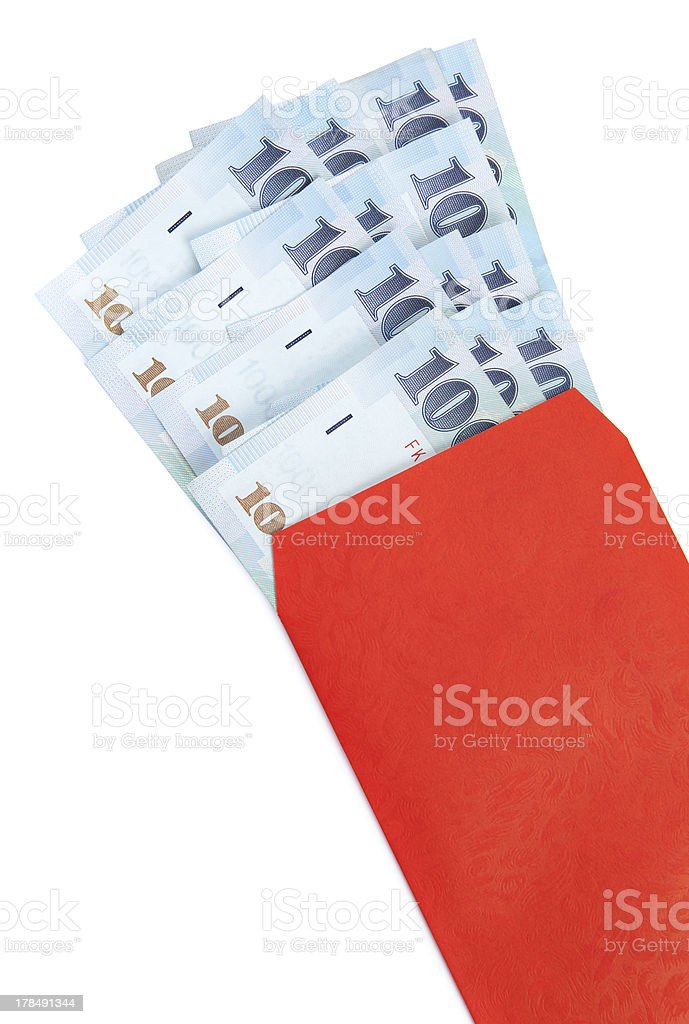 Traditional Red Envelope with Taiwanese Currency royalty-free stock photo