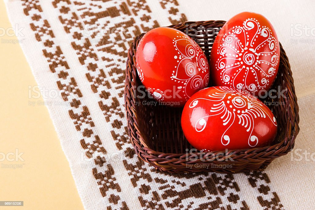 Traditional red painted Easter eggs royalty-free stock photo