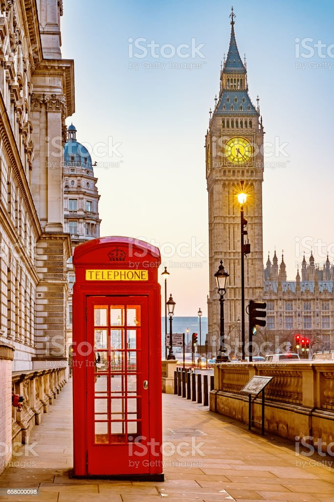 Traditional red phone booth in London stock photo