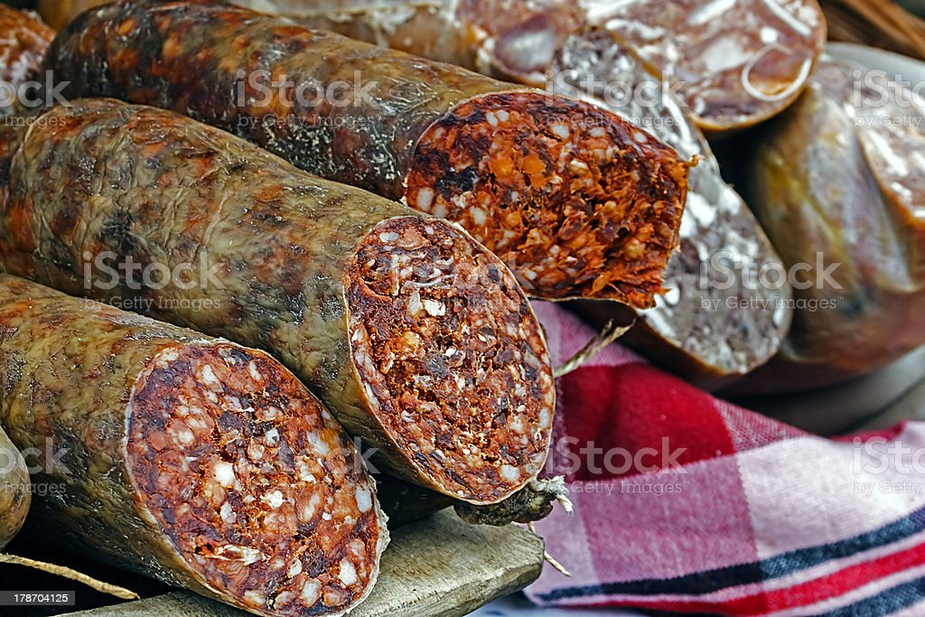 Traditional red sausage and aspic royalty-free stock photo