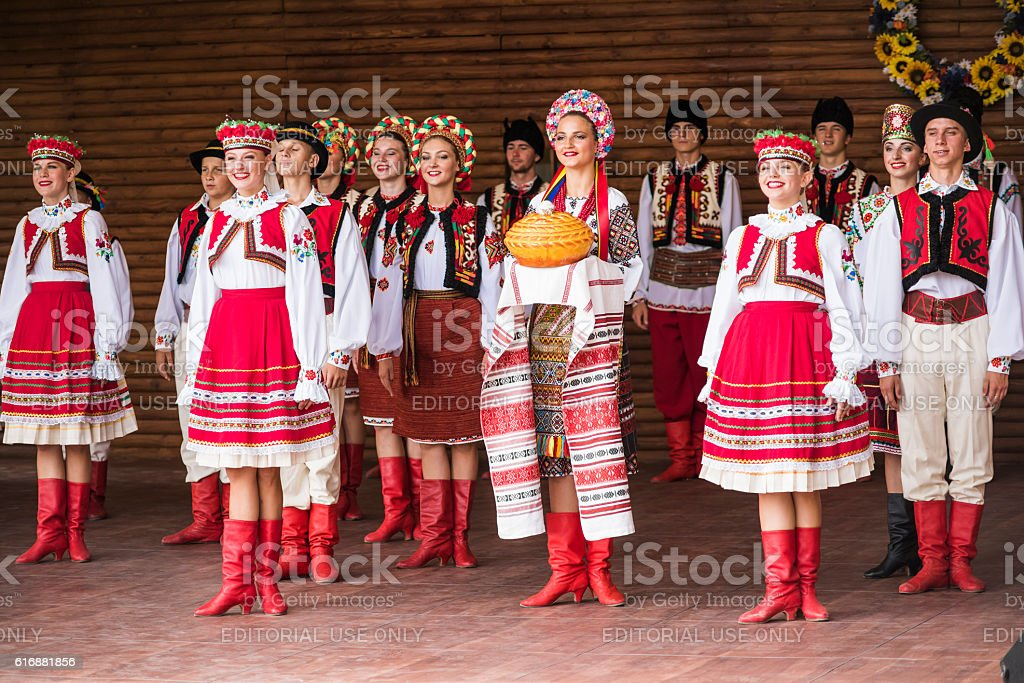 Traditional red Ukrainian embroidered costume clothes dancing Hopak stock photo