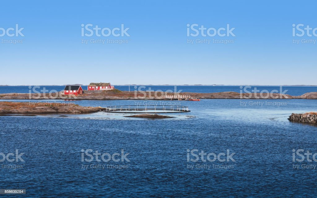 Traditional red wooden houses, Norway stock photo