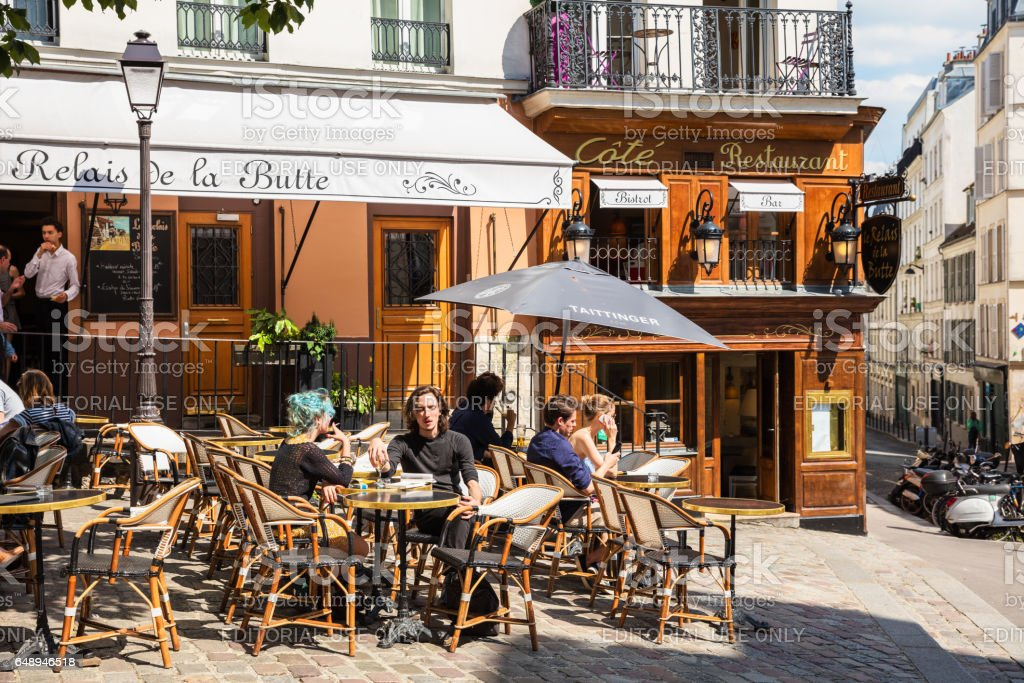 Traditional restaurant in the Butte Montmartre. Paris, France royalty-free stock photo