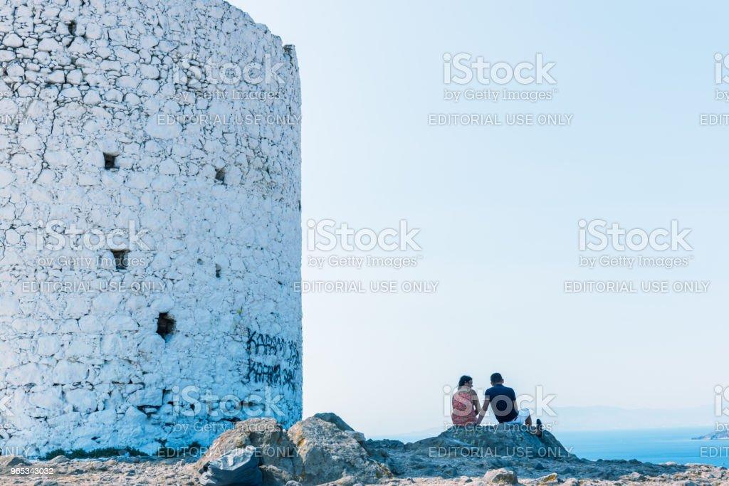 Traditional restored windmills on top of Bodrum zbiór zdjęć royalty-free