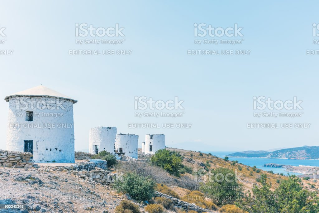 Traditional restored windmills on top of Bodrum royalty-free stock photo