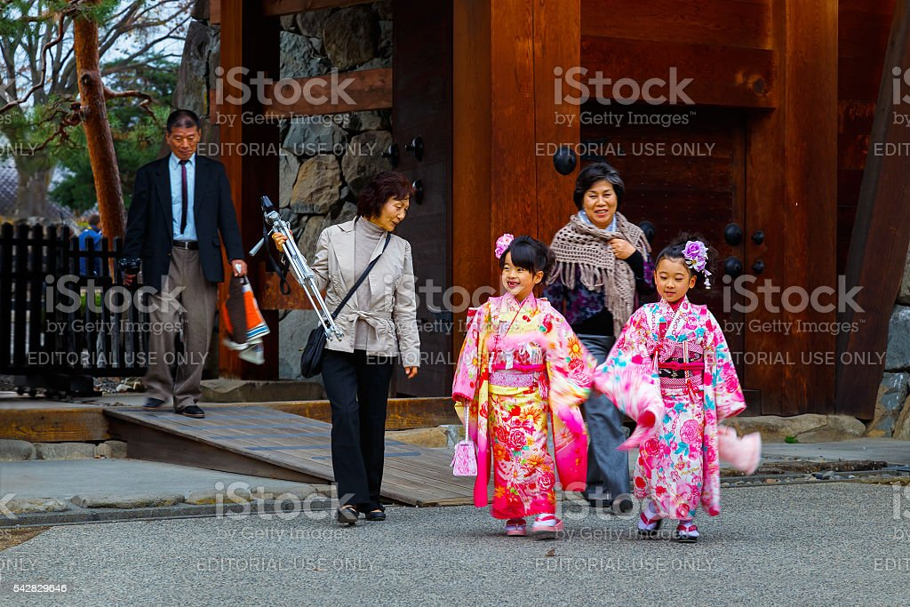 Traditional rite of passage and festival day in Japan stock photo