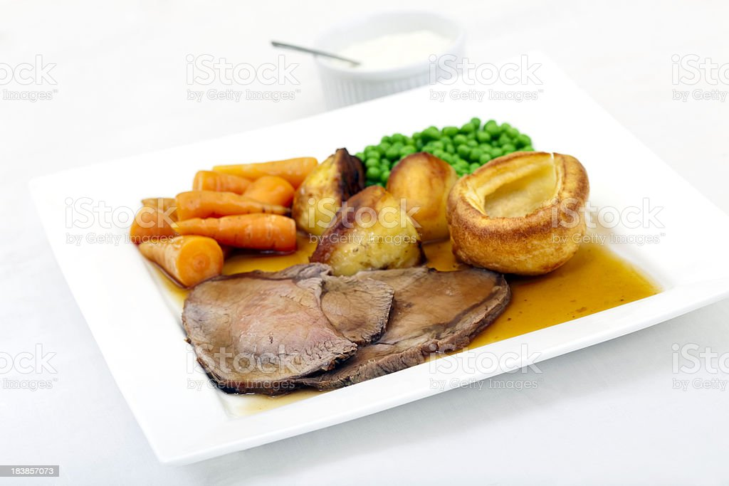Traditional roast beef and Yorkshire pudding royalty-free stock photo