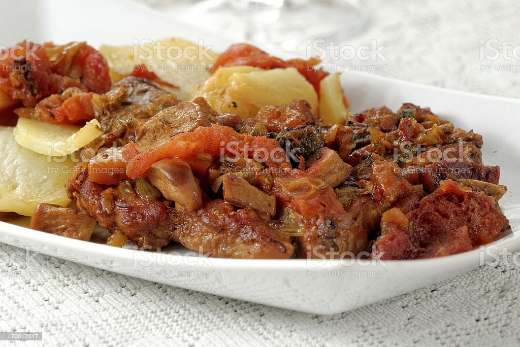 Traditional roast pork with potatoes royalty-free stock photo
