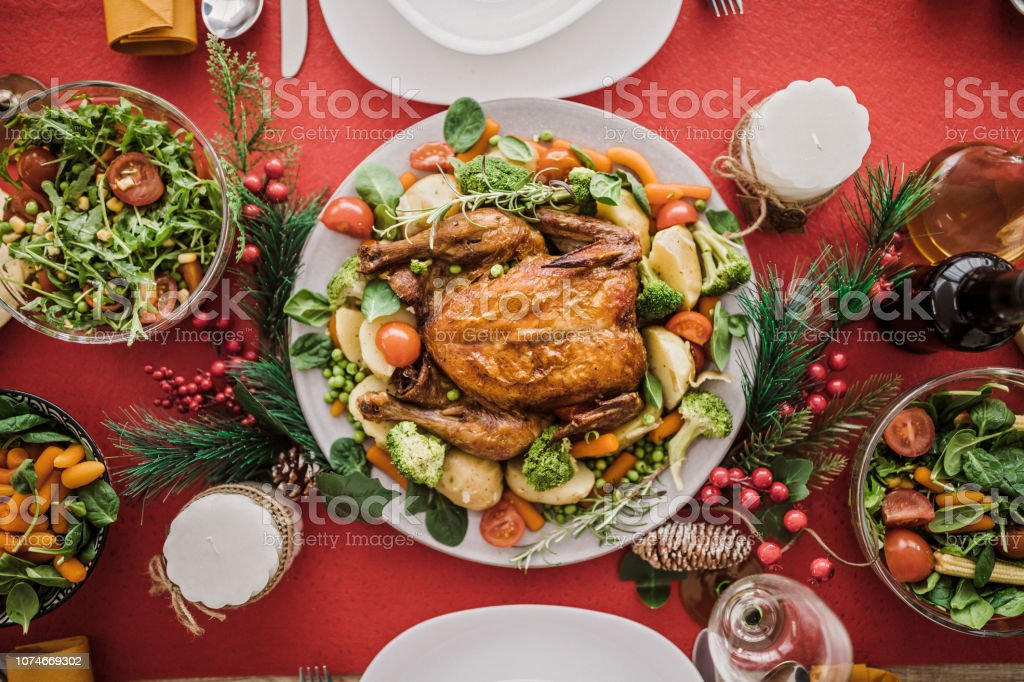 Well Decorated And Rich Christmas Meal Captured Directly Above