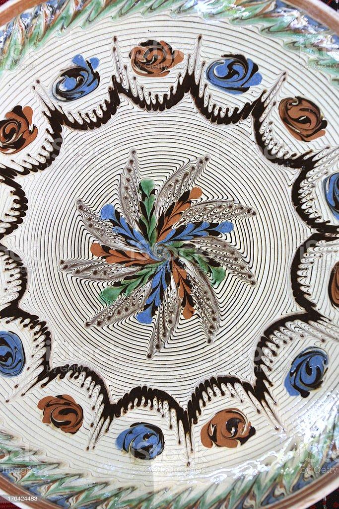 Traditional Romanian earthenware pottery at Horezu ceramic royalty-free stock photo