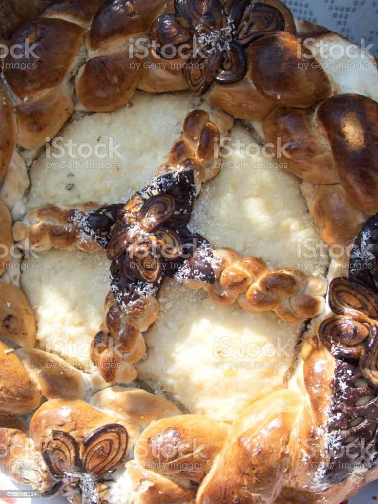 traditional romanian easter bred specialty pasca stock photo