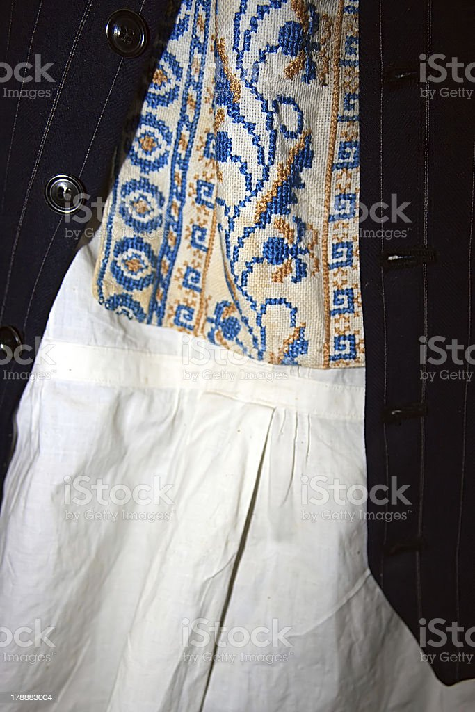Traditional Romanian folk costume.Detail royalty-free stock photo