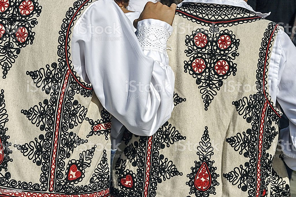 Traditional Romanian folk costume.Detail royalty-free stock photo