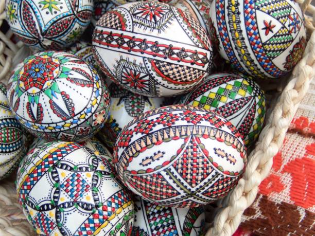 traditional romanian hand painted easter eggs stock photo
