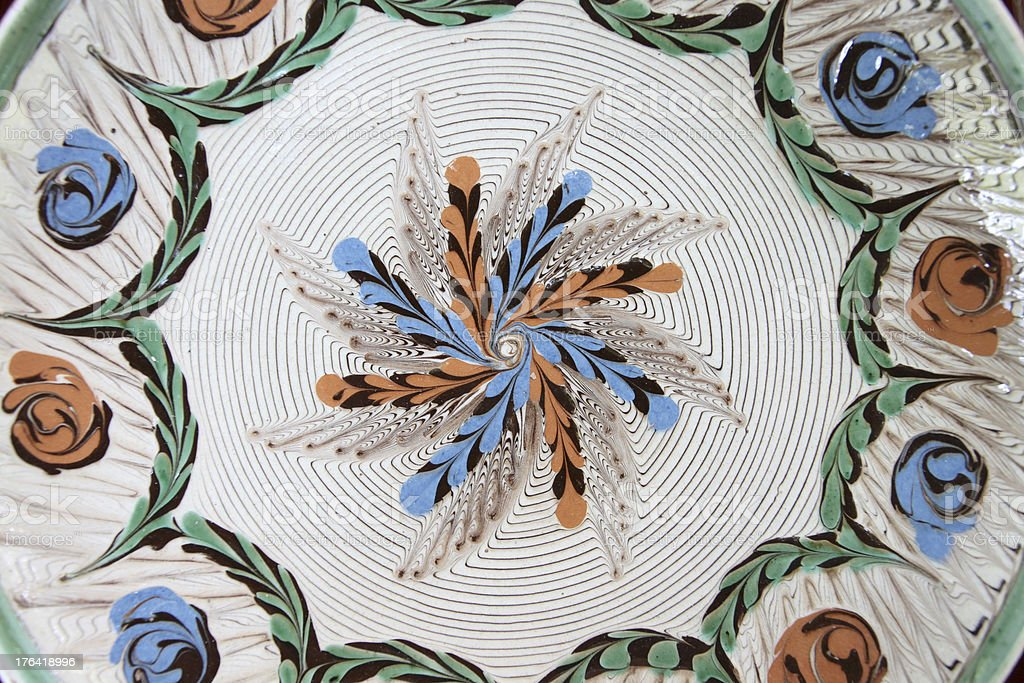 Traditional romanian handcrafted pottery plates royalty-free stock photo
