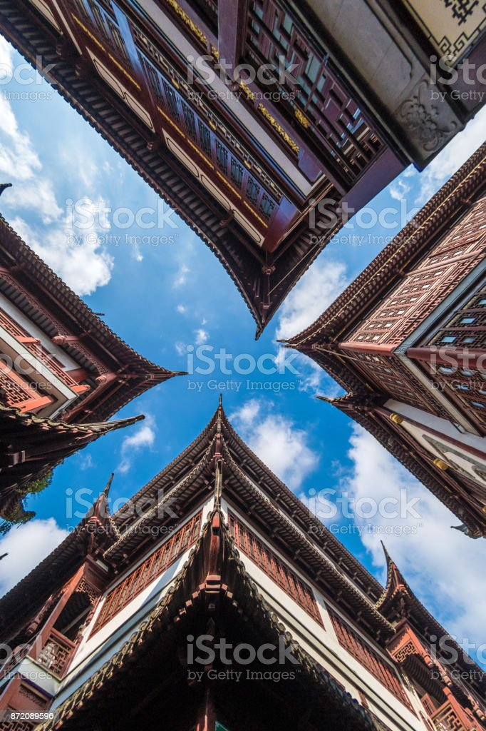 Traditional roof in Shanghai stock photo