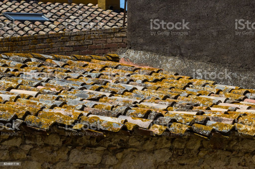 Traditional roof of a building in Spain , city Pals. stock photo