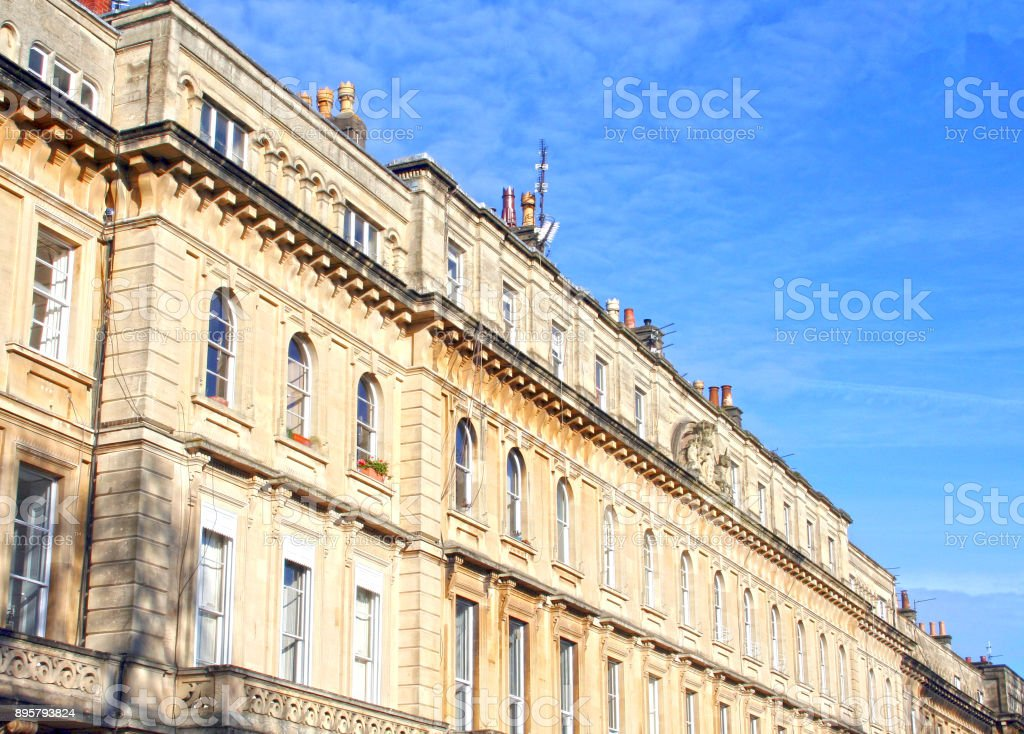 Traditional Row of Old English Terraced Houses (HDR) stock photo