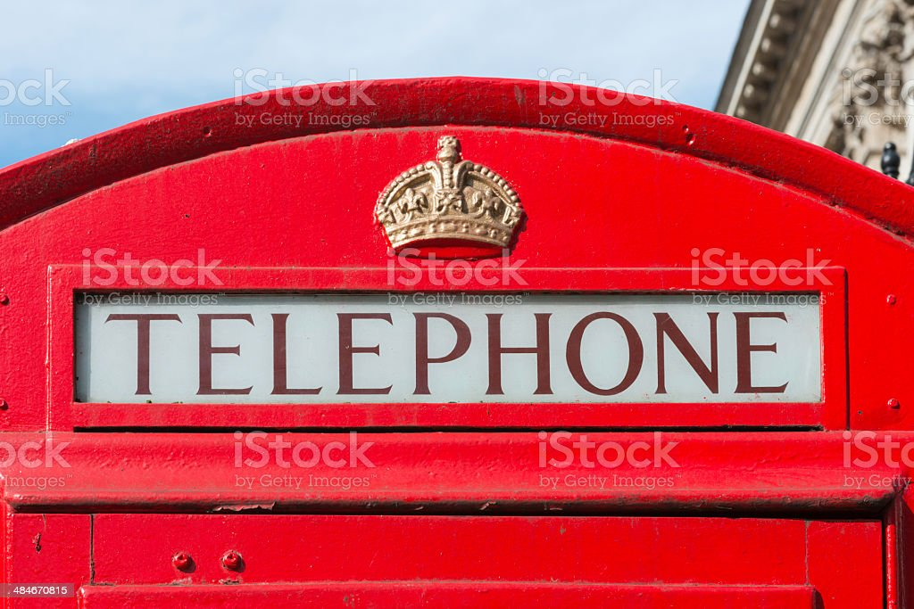 Traditional Rred telephone booth in London royalty-free stock photo