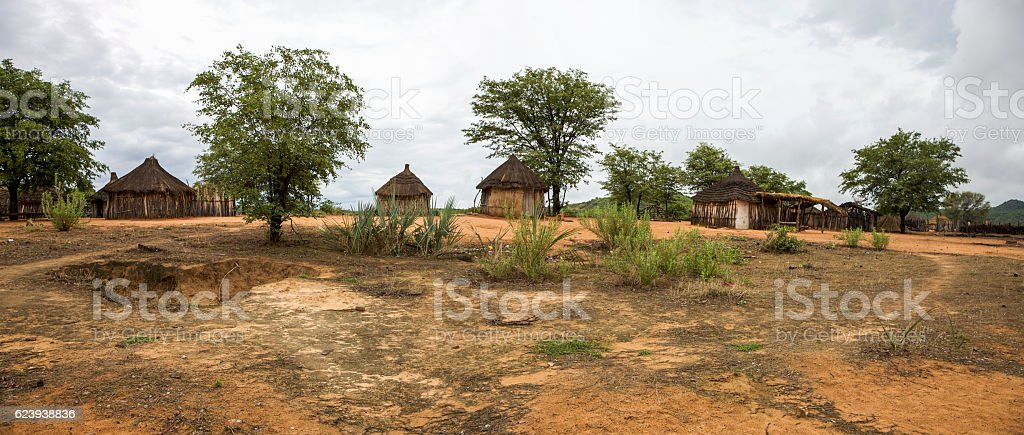 Traditional rural African Himba huts close to Etosha stock photo