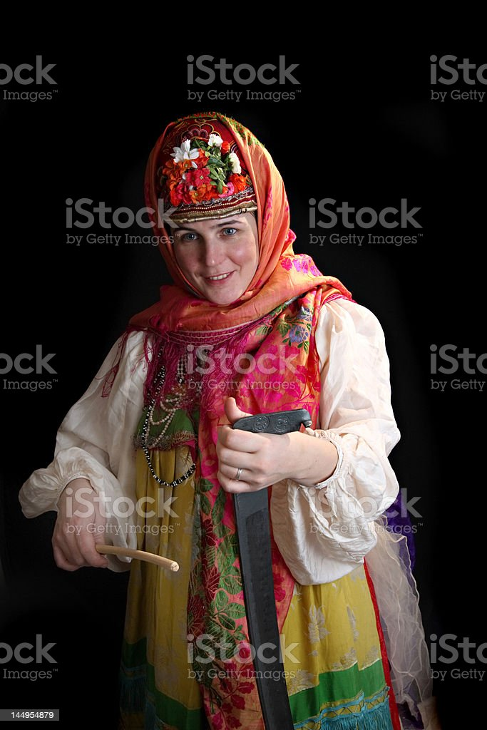 Traditional Russian clothes playing stock photo