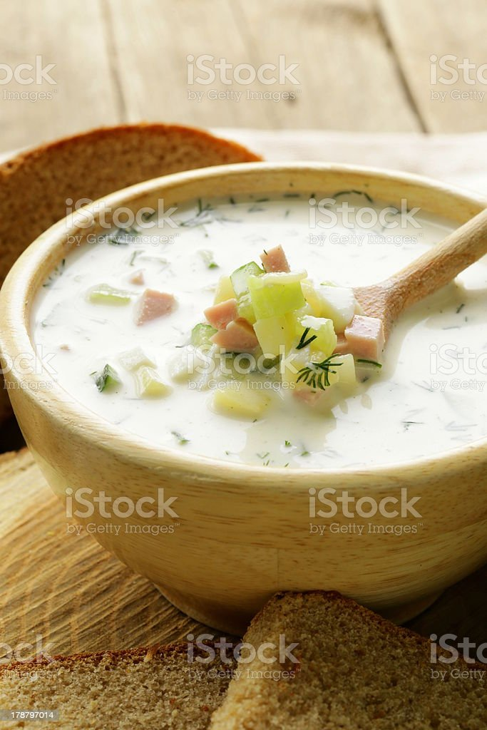 Traditional Russian cold soup with vegetables (okroshka) royalty-free stock photo