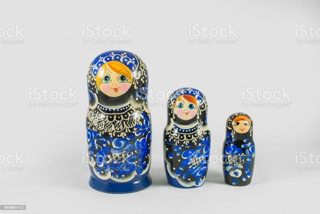 Traditional Russian hand painted Matryoshka dolls stock photo