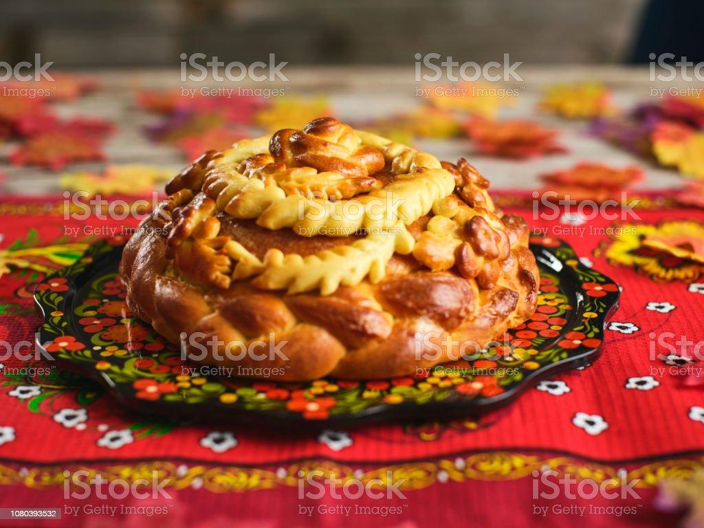 Traditional Russian Karavai Holiday Bread stock photo