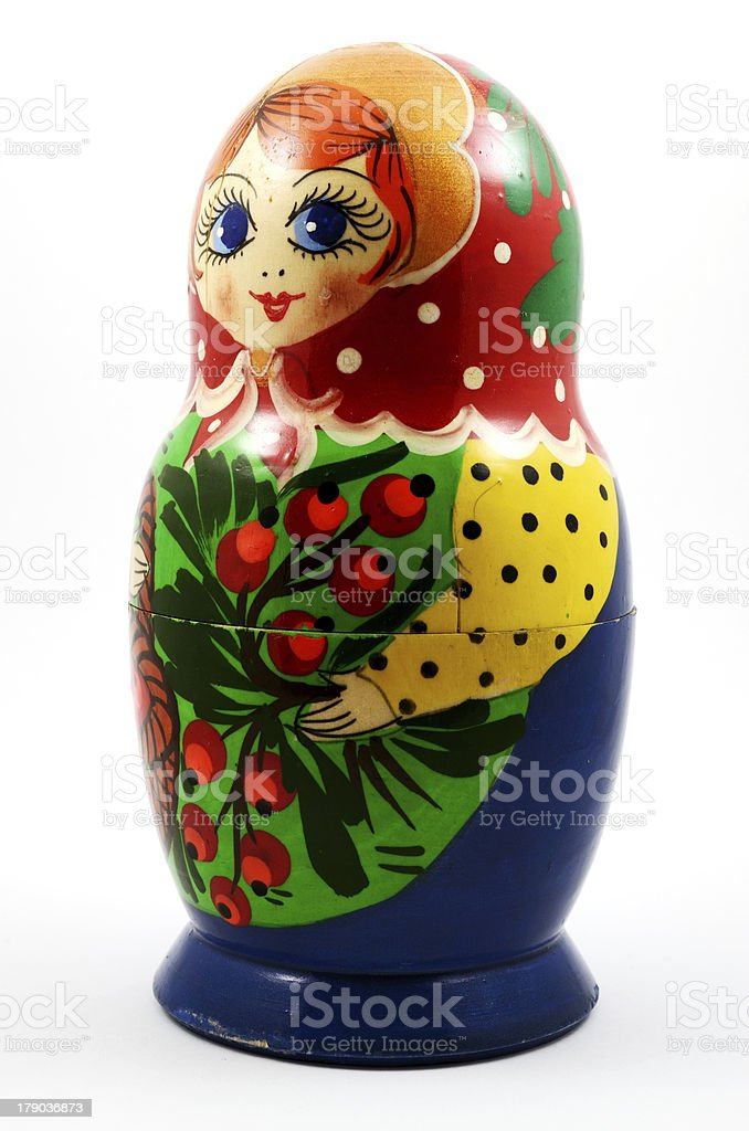 traditional Russian matryoshka doll over white royalty-free stock photo