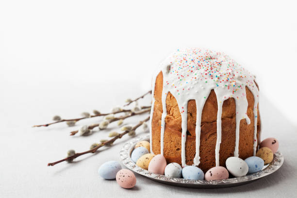 Traditional Russian Orthodox Easter bread - kulich stock photo
