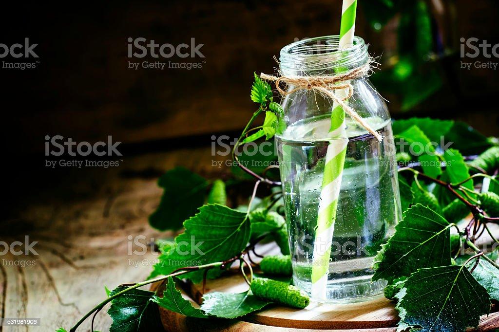 Traditional Russian refreshing drink birch juice foto