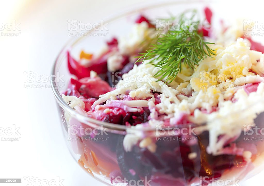 Traditional Russian salad with herring and beet royalty-free stock photo