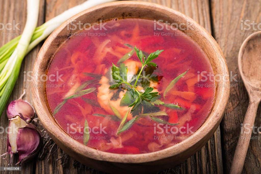 Traditional Russian soup with garlic and onion stock photo