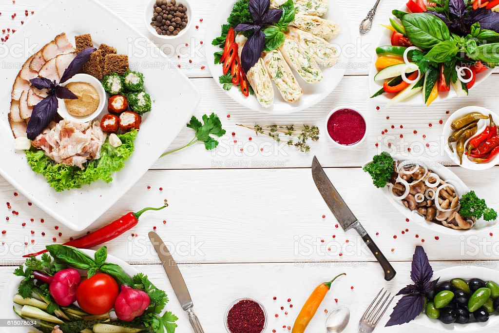 Traditional russian tableful with copy space stock photo