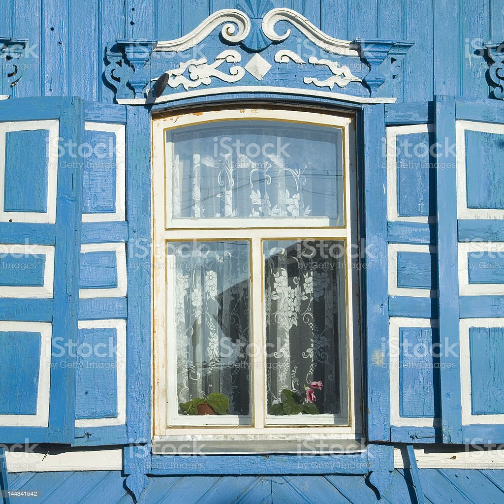 traditional russian window with shutter royalty-free stock photo