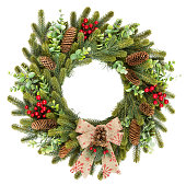 istock Traditional rustic Christmas wreath on white background 1206628154