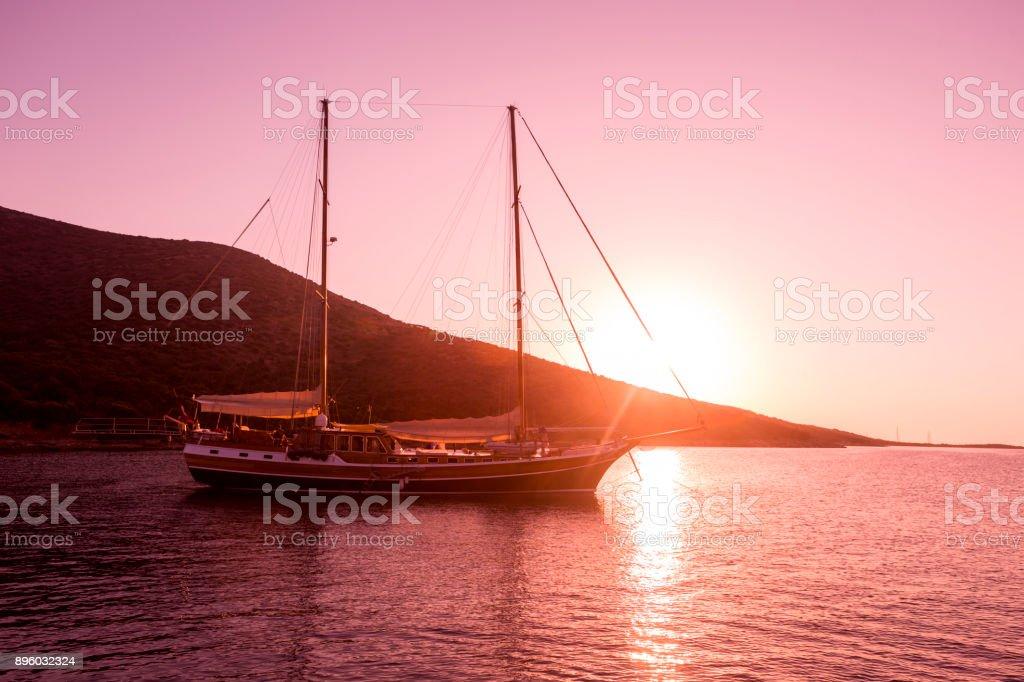 Traditional sailing wooden goulet boat at blue voyage in gokova bay bodrum of mugla turkey stock photo