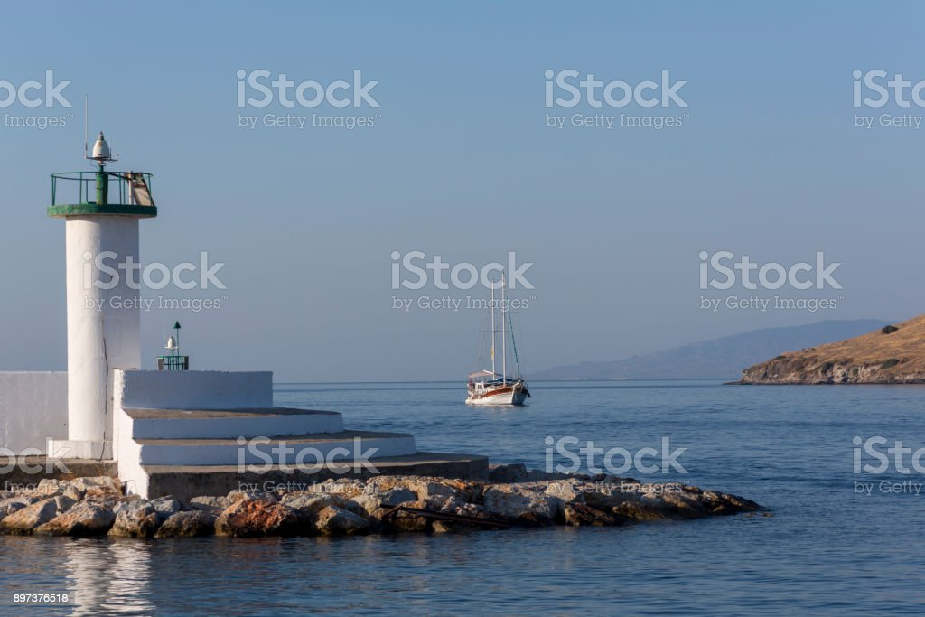 Traditional sailing wooden goulet boat coming from blue voyage at bodrum harbour in mugla turkey stock photo